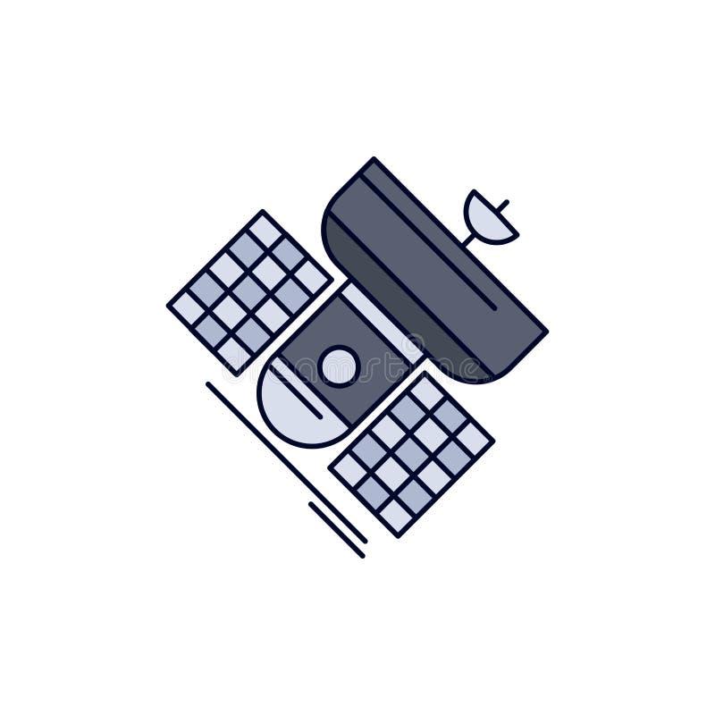 Передача, широковещание, сообщение, спутник, вектор значка цвета радиосвязи плоский иллюстрация штока