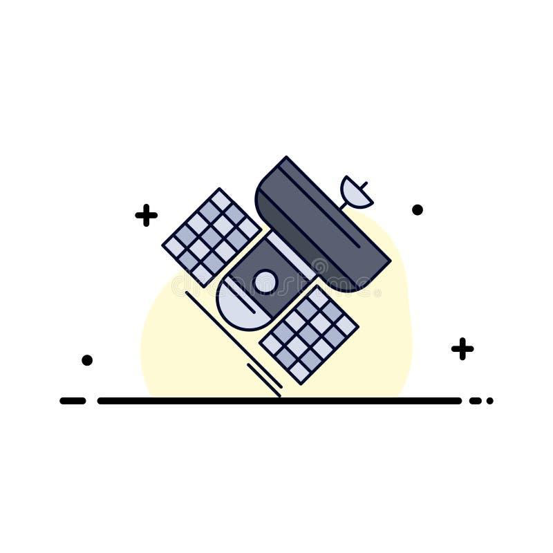 Передача, широковещание, сообщение, спутник, вектор значка цвета радиосвязи плоский иллюстрация вектора