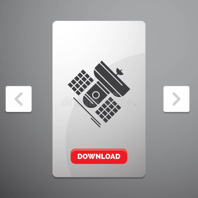 Передача, широковещание, сообщение, спутник, значок глифа радиосвязи в дизайне слайдера пагинаций Carousal & красное иллюстрация штока