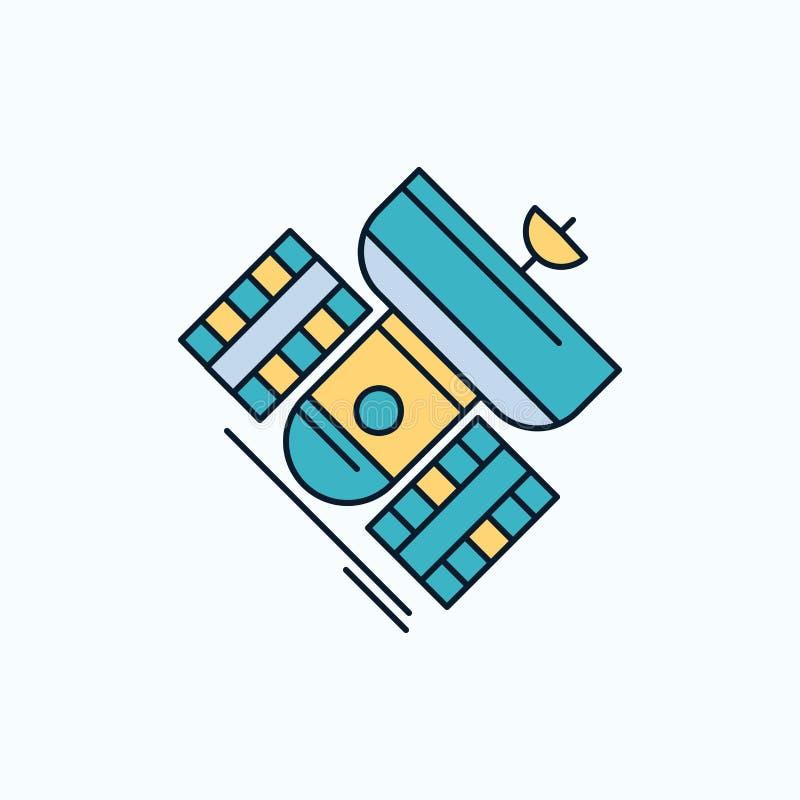 Передача, широковещание, сообщение, спутник, значок радиосвязи плоский зеленые и желтые знак и символы для вебсайта и иллюстрация штока