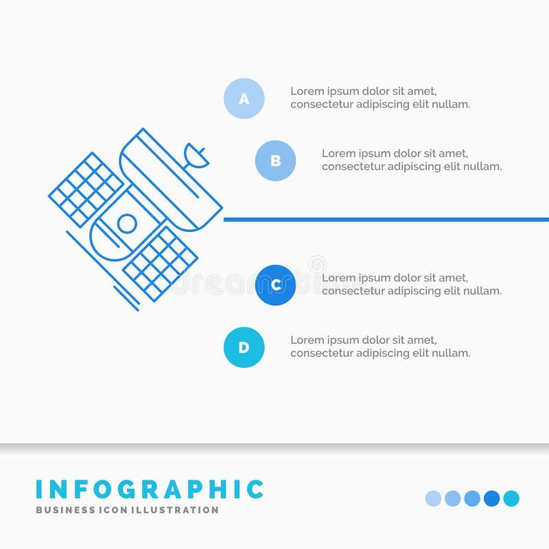 Передача, широковещание, сообщение, спутник, шаблон Infographics радиосвязи для вебсайта и представление Линия синь иллюстрация вектора