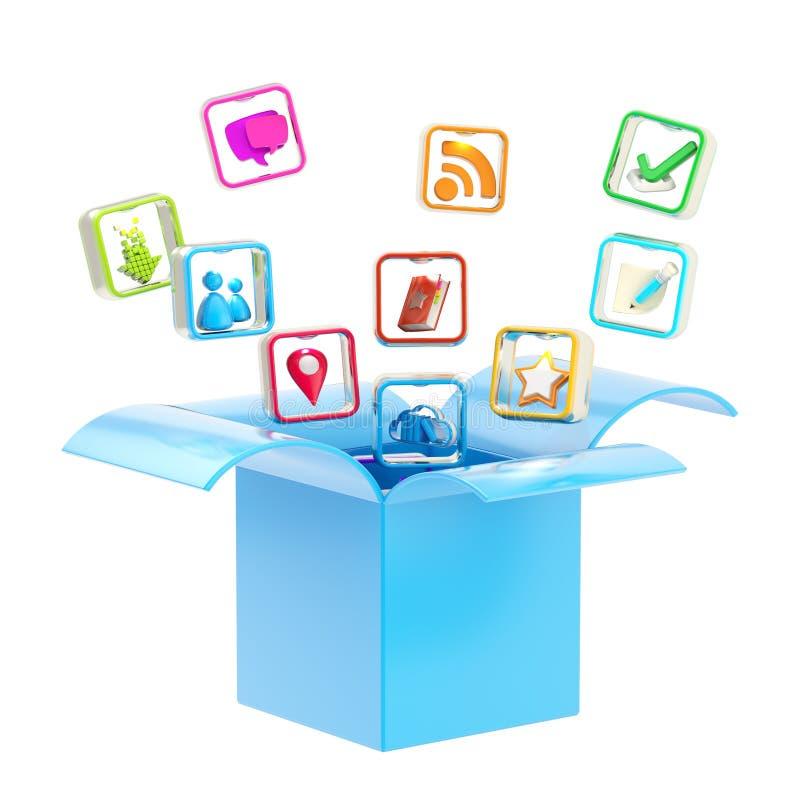 Передвижная икона применения внутри коробки бесплатная иллюстрация