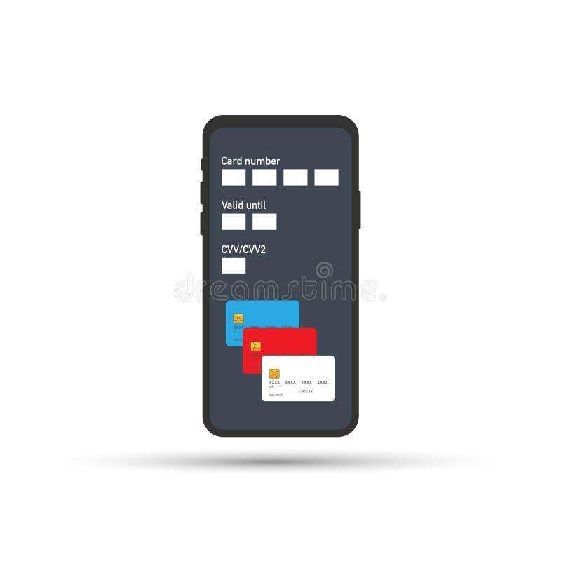 передвижная компенсация Используя мобильный телефон, который нужно накренить и ходить по магазинам онлайн также вектор иллюстраци бесплатная иллюстрация
