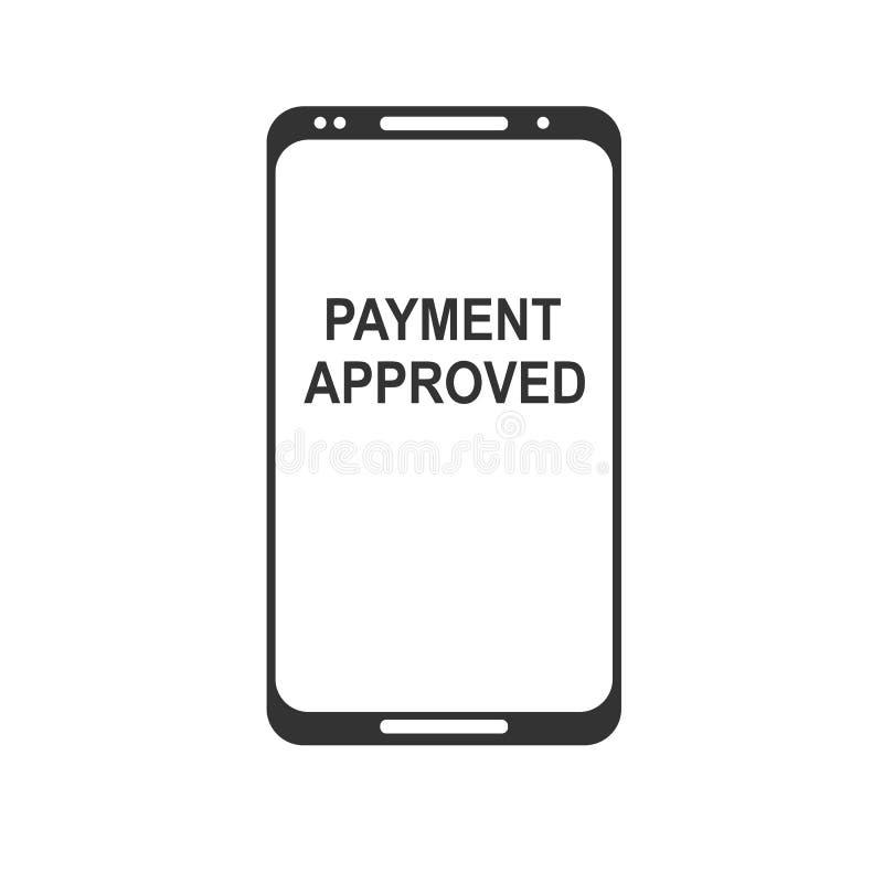 передвижная компенсация Концепции телефона NFC значок умной плоский Черное изображение на белой предпосылке бесплатная иллюстрация