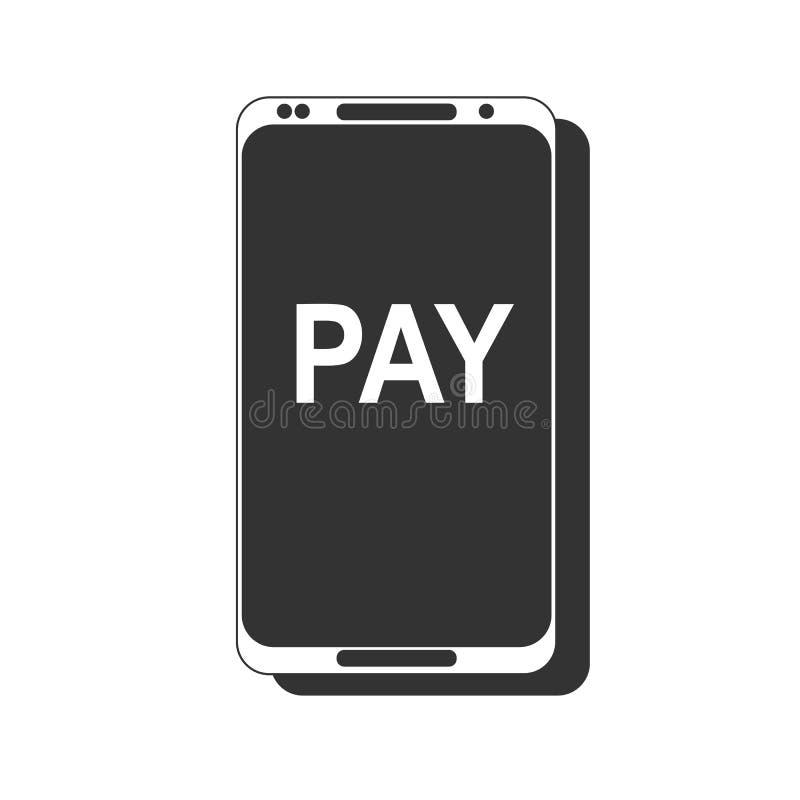 передвижная компенсация Концепции телефона NFC значок умной плоский Черное изображение на белой предпосылке иллюстрация штока