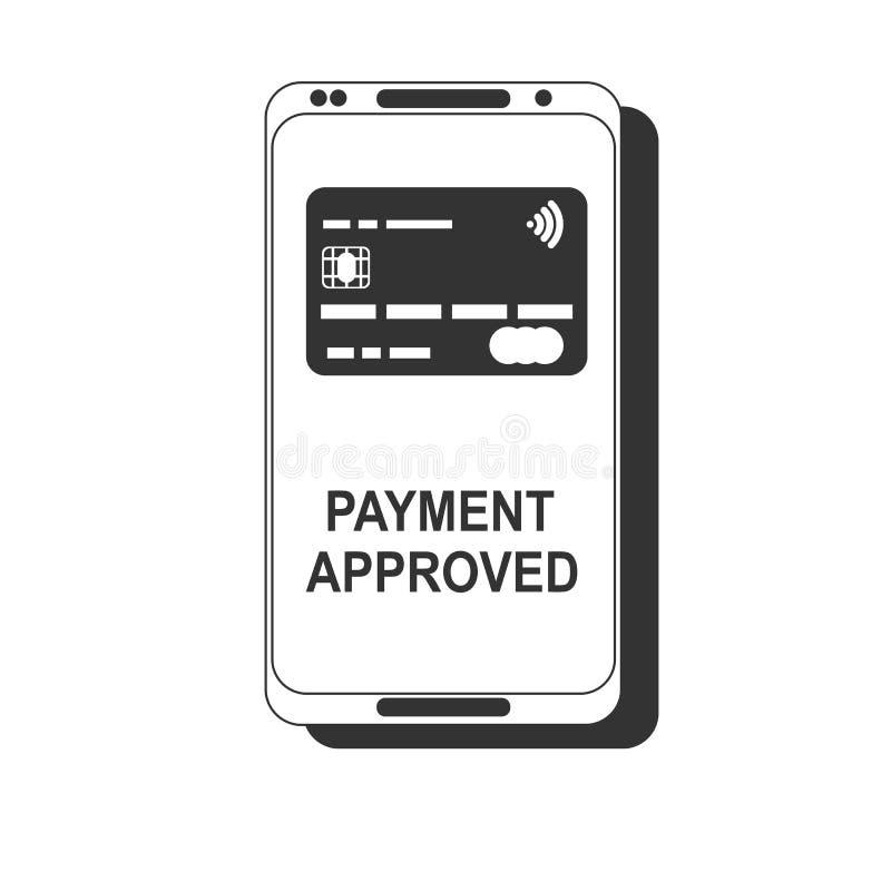 передвижная компенсация Концепции телефона NFC значок умной плоский Черное изображение на белой предпосылке иллюстрация вектора