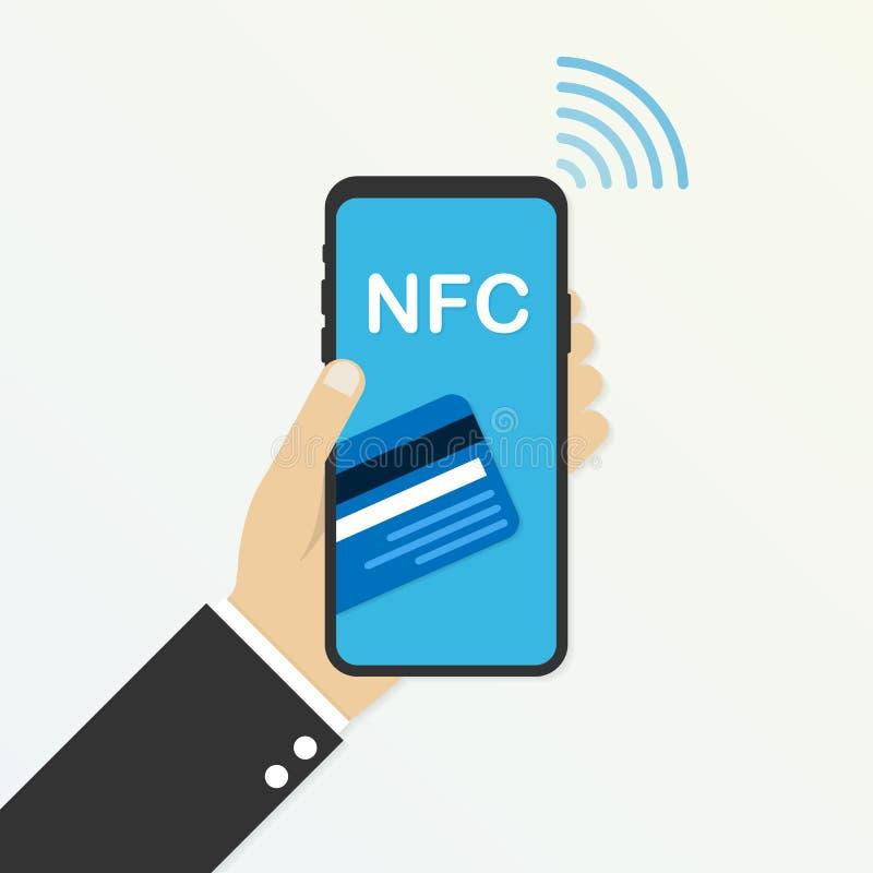 передвижная компенсация Концепции телефона NFC значок умной плоский также вектор иллюстрации притяжки corel иллюстрация вектора