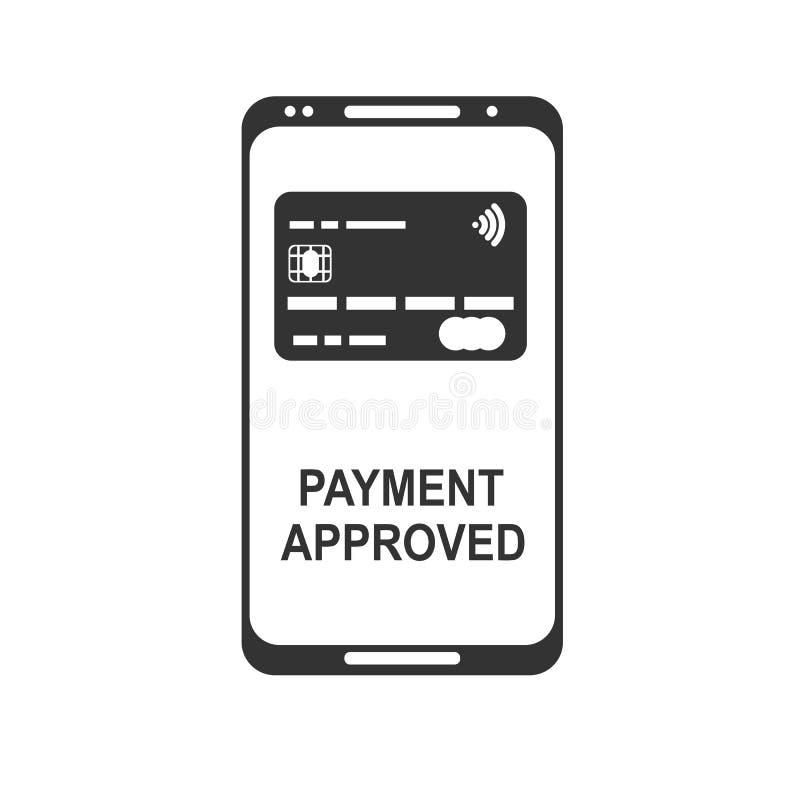 передвижная компенсация Концепции телефона NFC значок умной плоский иллюстрация штока