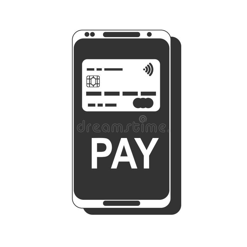 передвижная компенсация Концепции телефона NFC значок умной плоский иллюстрация вектора