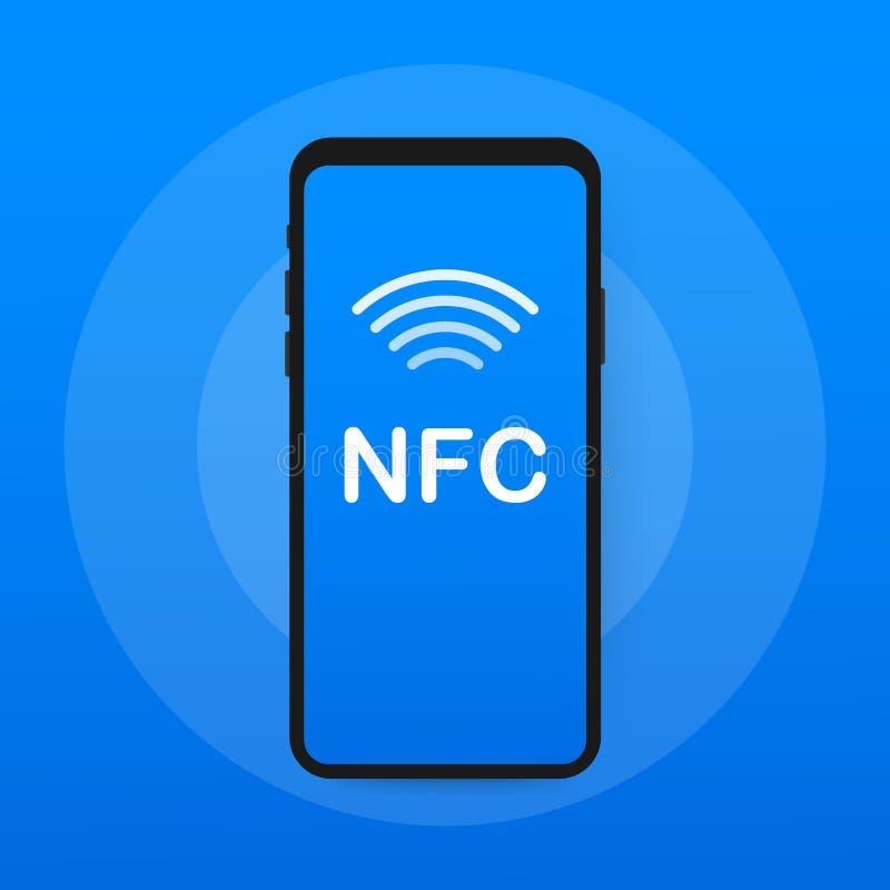 передвижная компенсация Концепции телефона NFC значок умной плоский также вектор иллюстрации притяжки corel бесплатная иллюстрация