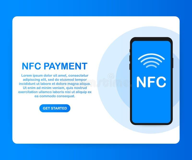 передвижная компенсация Концепции телефона NFC значок умной плоский также вектор иллюстрации притяжки corel иллюстрация штока