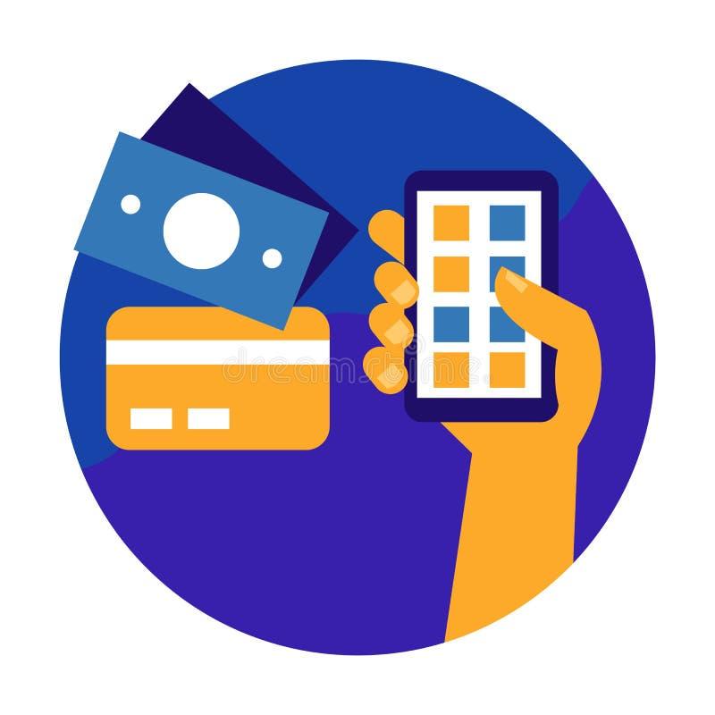 передвижная компенсация Онлайн концепция покупок и онлайн-банкингов плоско иллюстрация штока