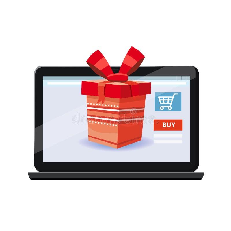 Передвижная онлайн концепция магазина Ноутбук, noteebook Подарочная коробка красного цвета праздника Дизайн дела иллюстрации вект иллюстрация вектора