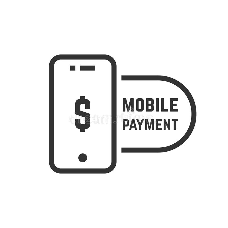 Передвижная оплата любит линейный черный телефон иллюстрация штока