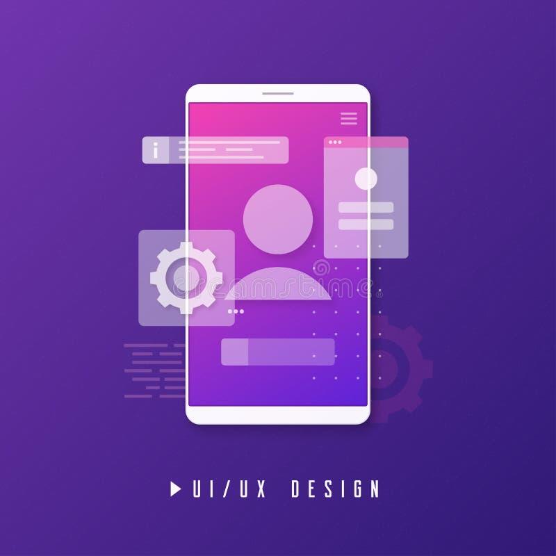 Передвижной дизайн ux ui, концепция развития app иллюстрация вектора