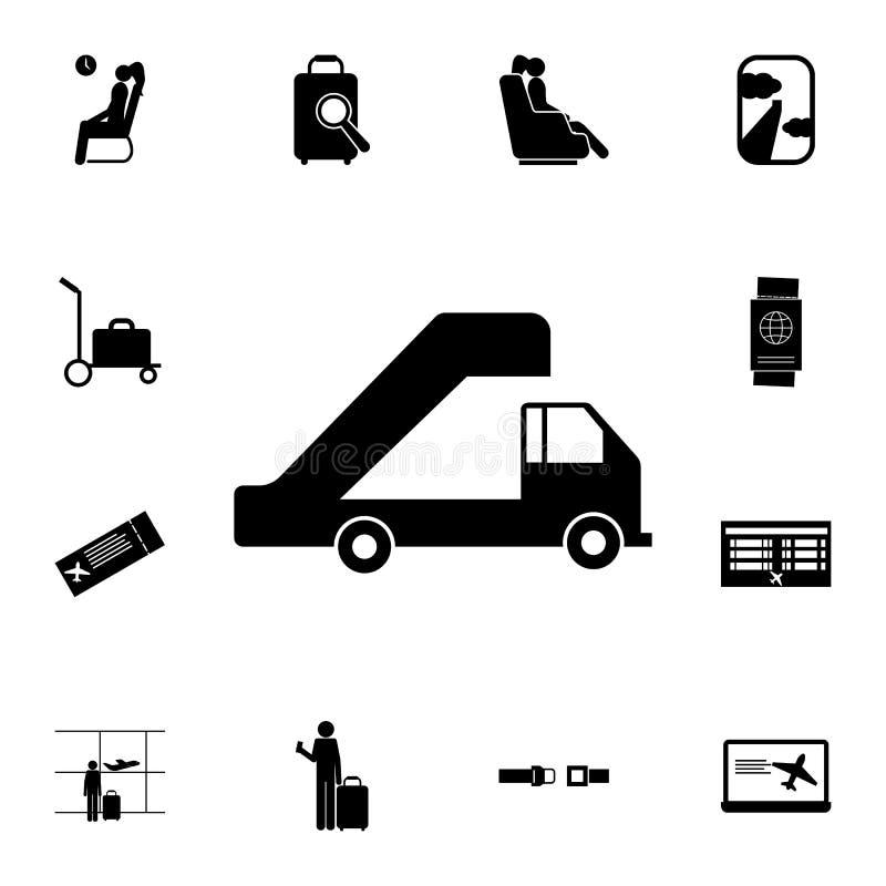 передвижной мостк для значка воздушных судн Детальный комплект значков авиапорта Наградной качественный знак графического дизайна иллюстрация штока