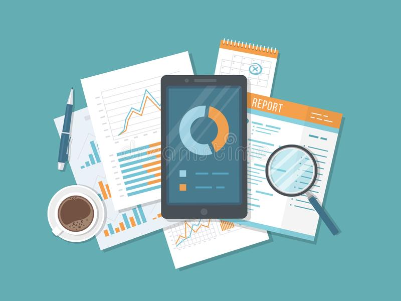 Передвижной ревизовать, анализ данных, статистик, исследование Позвоните по телефону с информацией на экране, документами, отчето иллюстрация вектора