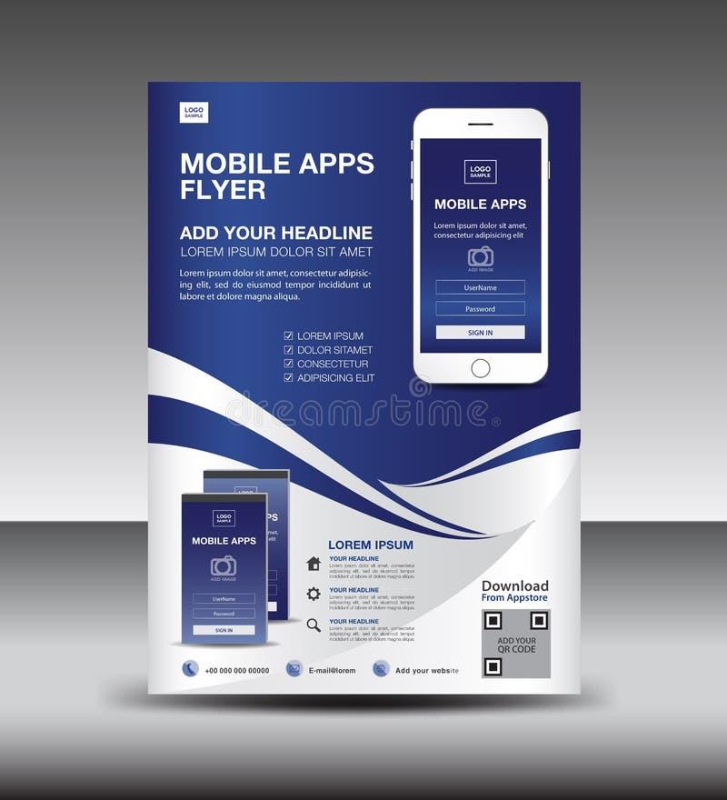 Передвижной шаблон рогульки Apps План дизайна рогульки брошюры дела модель-макет значков smartphone представление применения Объя бесплатная иллюстрация