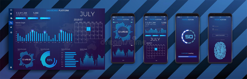 Передвижной шаблон app infographic с диаграммами современного дизайна еженедельными и ежегодными статистик иллюстрация вектора