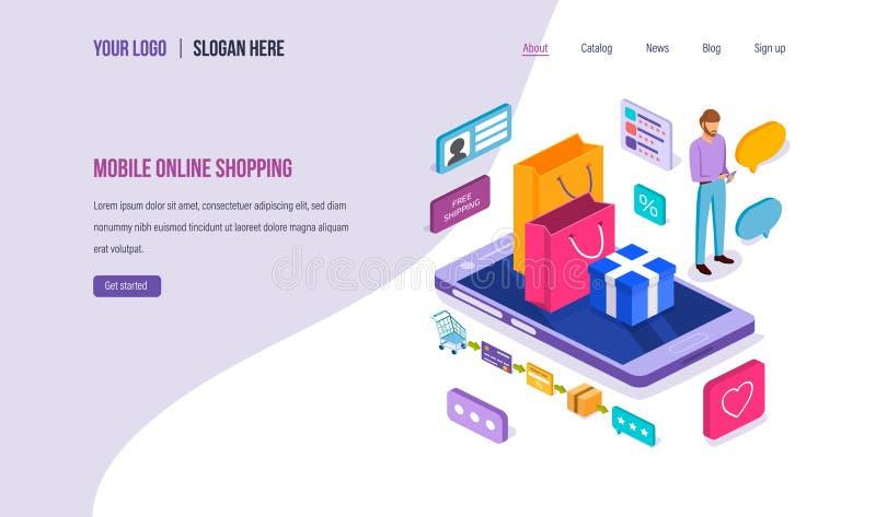 Передвижные онлайн покупки Маркетинг цифров, приобретение, приобретение в онлайн магазине бесплатная иллюстрация