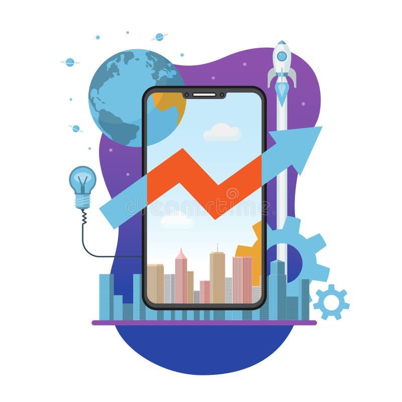 Передвижные старт творения app и концепция развития иллюстрация штока