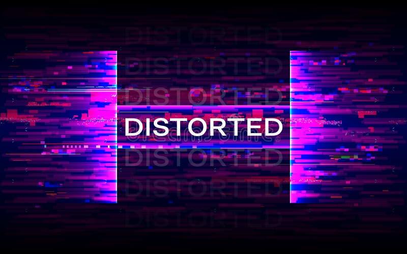 Передернутое знамя небольшого затруднения Динамическое искажение с пурпурными элементами Футуристический плакат Будущий шаблон ди иллюстрация штока