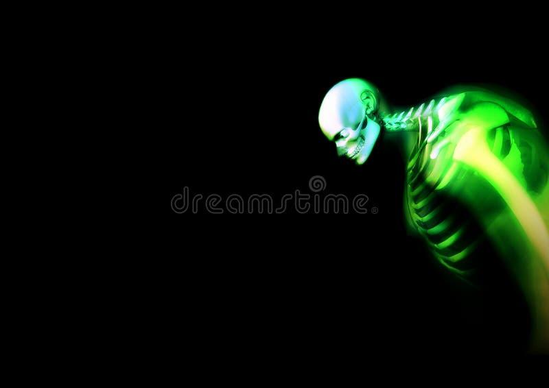 Передернутый зеленый скелет 2 иллюстрация штока