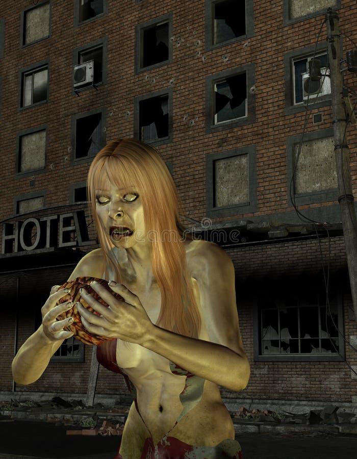 переднее зомби старухи гостиницы иллюстрация штока