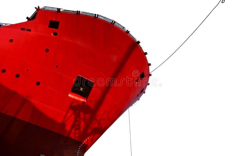 Переднее viewShip причаливая наряду с изолированный на белой предпосылке стоковая фотография rf