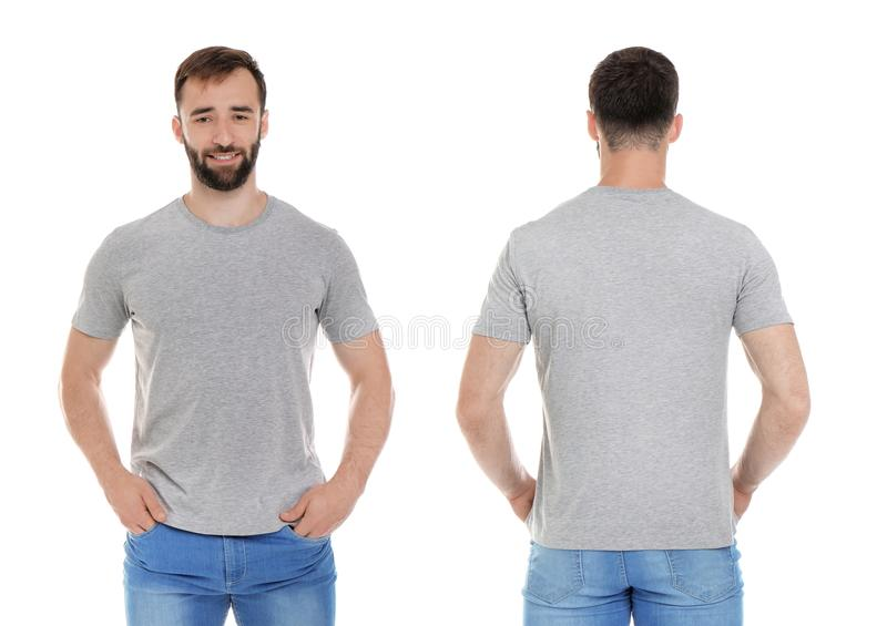 Передние и задние взгляды молодого человека в серой футболке стоковое фото