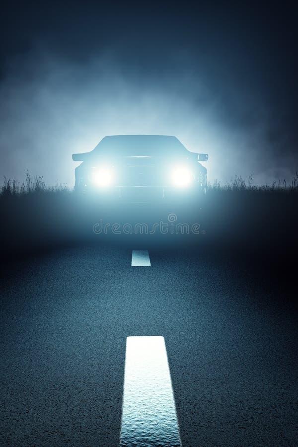 Передний автомобиль освещает на ноче на открытой дороге иллюстрация вектора