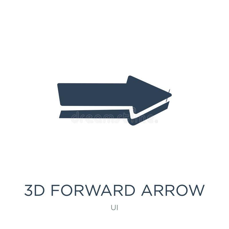 передний значок стрелки 3d в ультрамодном стиле дизайна передний значок стрелки 3d изолированный на белой предпосылке передний зн иллюстрация вектора