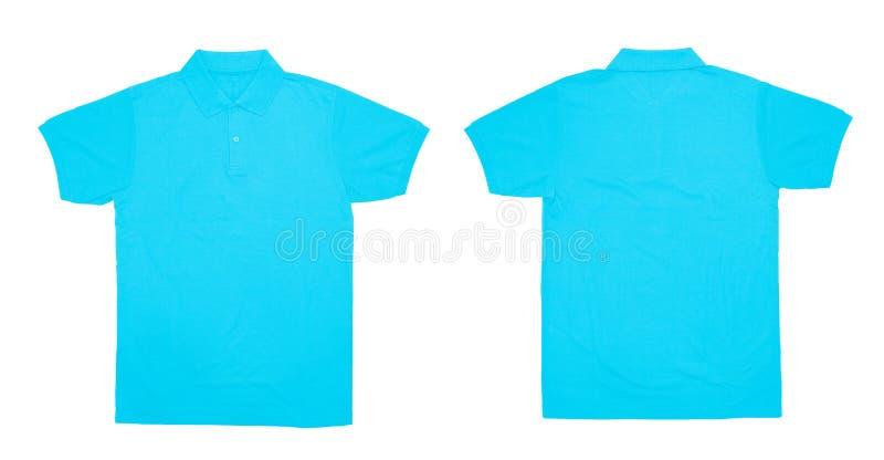 Передний пустого цвета рубашки поло небесно-голубой и задний взгляд стоковое фото
