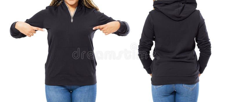 Передняя задняя часть и задний черный взгляд фуфайки Указывать и шоу женщины Афро на одеждах шаблона для космоса печати и экземпл стоковое фото