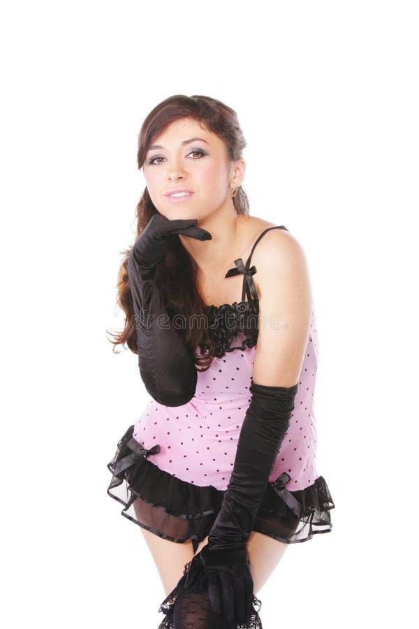 передняя inclining розовая женщина стоковое фото