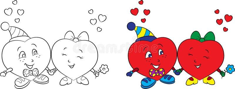 Перед и после иллюстрацией черно-белых и цвета пары сердца, для карты дня Валентайн или книжка-раскраски детей иллюстрация штока