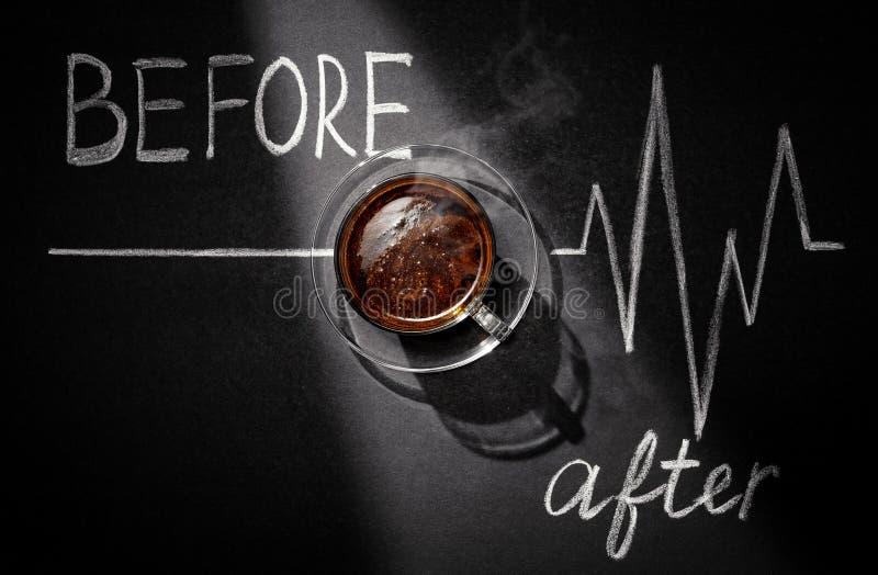 Перед кофе после кофе стоковые фотографии rf