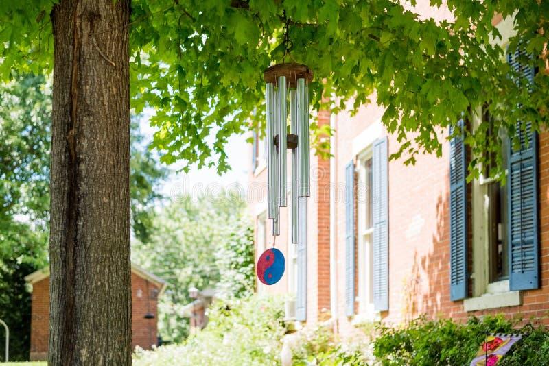 Перезвон ветра на дереве в задворк стоковая фотография rf