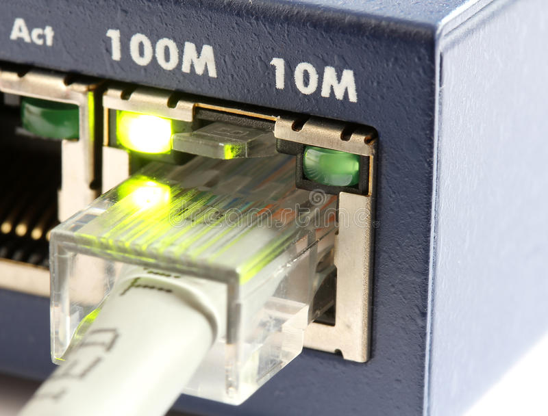 переключатель сети локальных сетей кабеля серый стоковые изображения