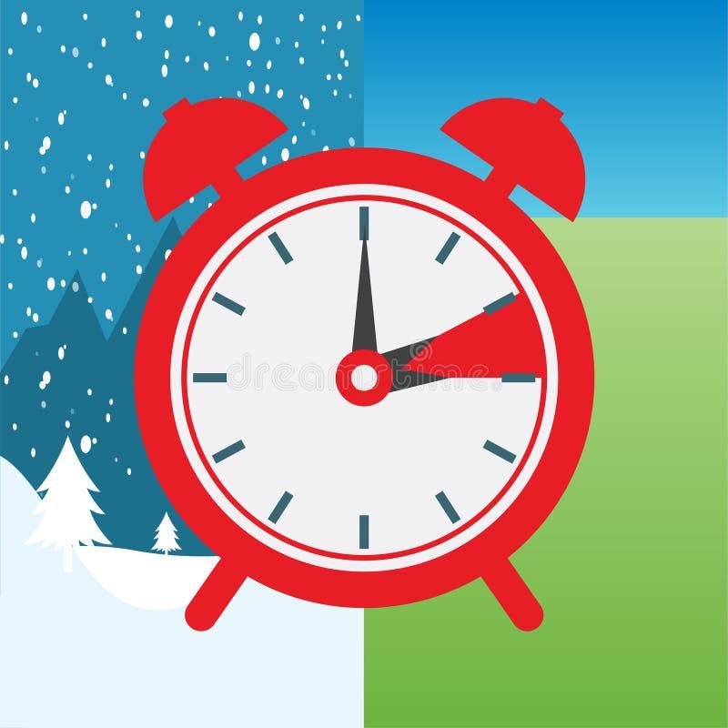 Переключатель часов к зимнему времени и к летнему времени иллюстрация штока