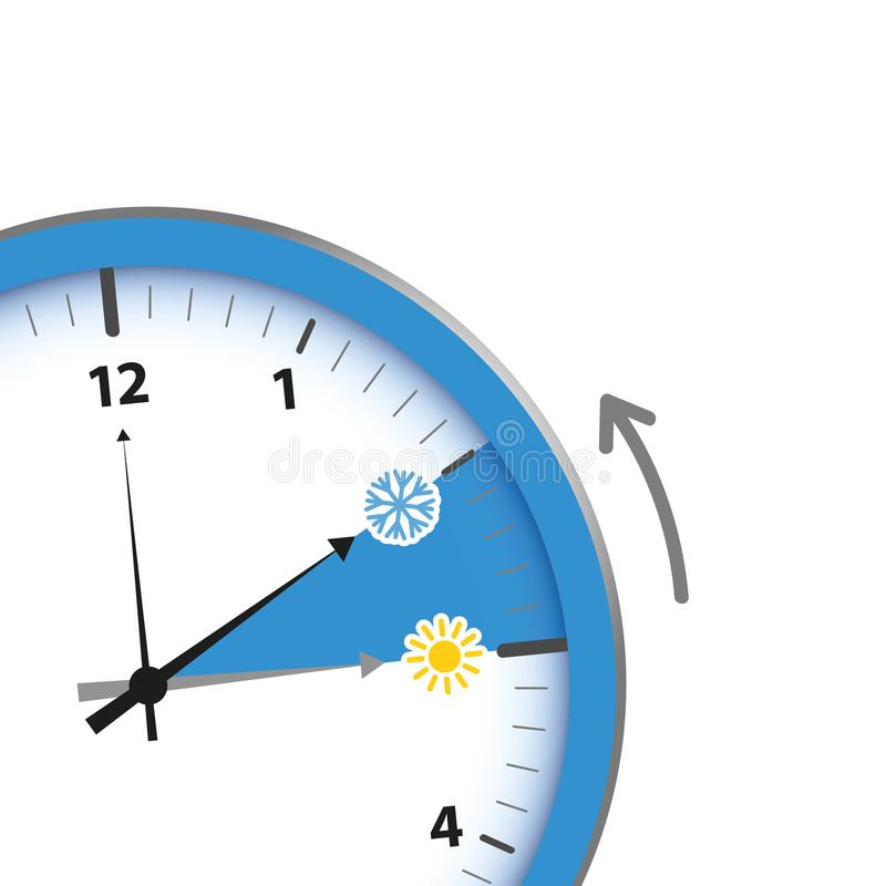 Переключатель часов к солнцу и снежинке зимнего времени бесплатная иллюстрация