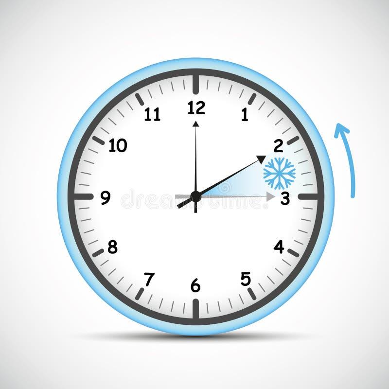 Переключите к часам сини зимнего времени иллюстрация штока