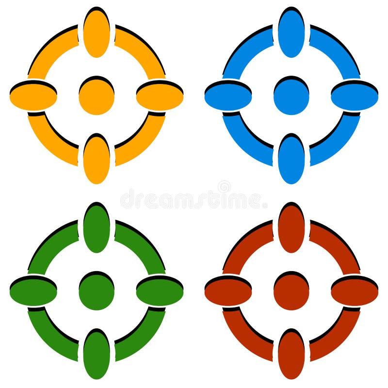 Перекрестие/метка/перекрещение цели значки в цвете 4 иллюстрация вектора