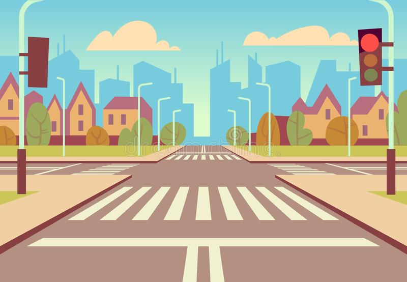 Перекрестки города шаржа с светофорами, тротуаром, crosswalk и городским ландшафтом Пустые дороги для вектора автомобильного движ иллюстрация вектора