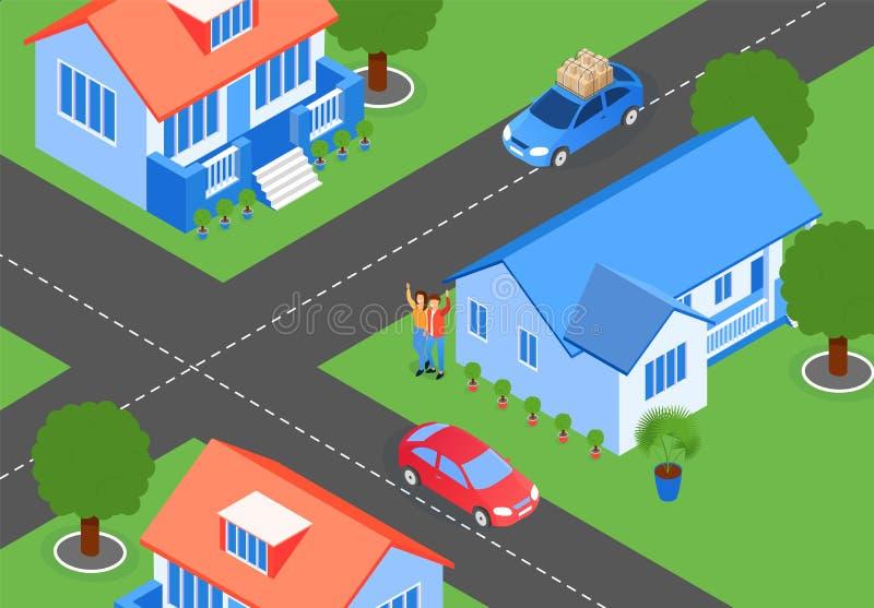 Перекрестки улиц города иллюстрации вектора плоско иллюстрация штока