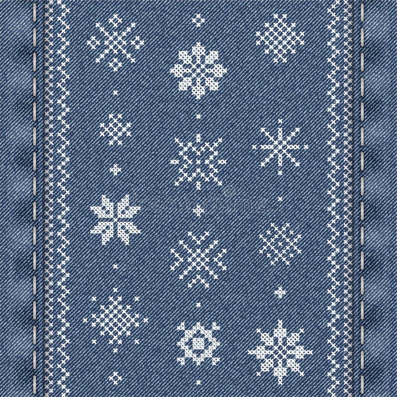 Перекрестная вышивка стежком для рождества иллюстрация вектора