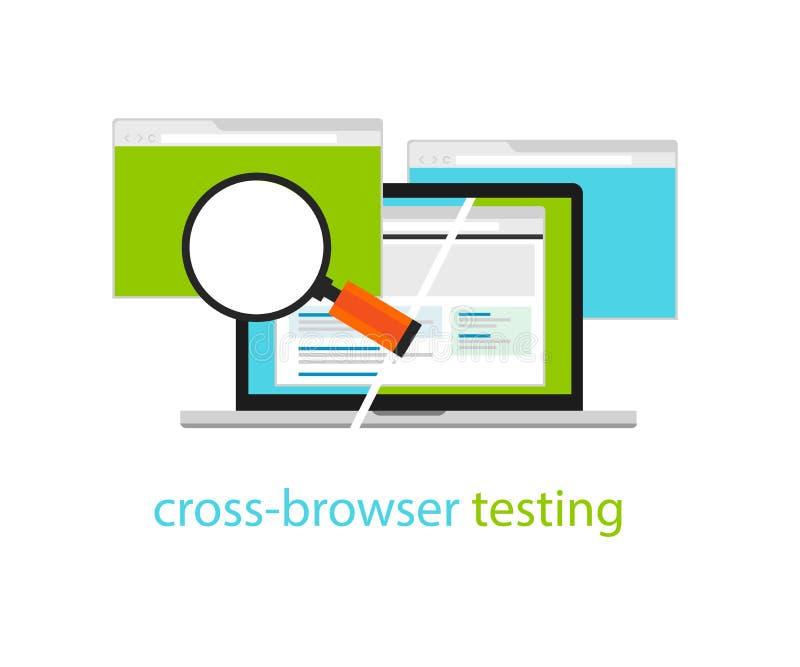 Перекрестная методология процесса разработки программного обеспечения сети испытания браузера иллюстрация вектора