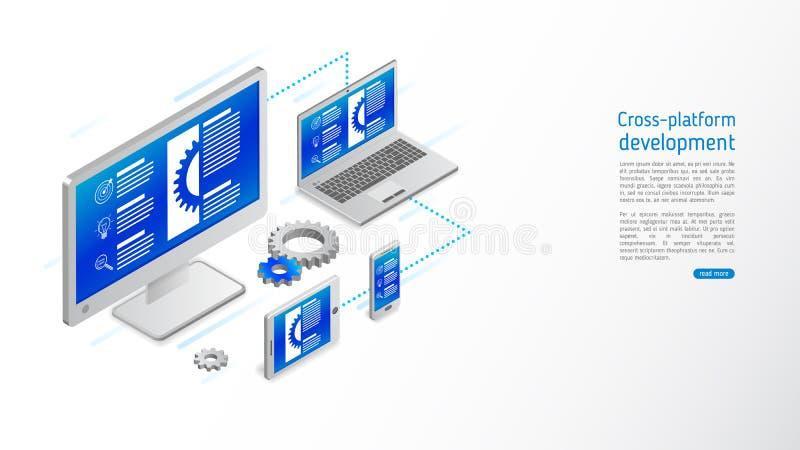 Перекрестное развитие вебсайта платформы бесплатная иллюстрация