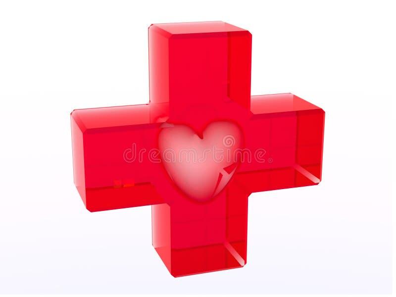 перекрестное стекловидное сердце внутри красного цвета иллюстрация вектора