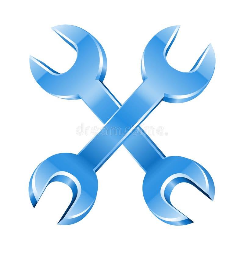 перекрестные инструменты гаечного ключа работая ключ иллюстрация штока